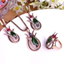 Fine Turkish Jewelry Vintage Necklace Earrings Ring Sets Gold Green Lily Flower Pendant Princess Hooks Brincos Big Size Ring 10(China (Mainland))