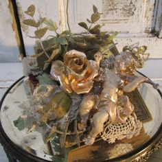 Cherub figurine embellished book handmade from all vintage and antique pieces holiday and home decor anita spero
