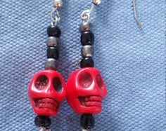 Spring Sale Red black skull Bead Earring,drop earring,dangle earring,wedding earring,skull earring,Halloween earring, Day of the Dead earrin by dawnsbeadsdesigns. Explore more products on http://dawnsbeadsdesigns.etsy.com