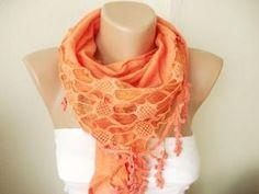 Orange Cotton Scarf with Pine leaf tassel Lace | moonfairy - Accessories on ArtFire