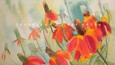 Mexican Red Hats wildflowers, painting by artist Kay Smith Watercolour Paintings, Flower Paintings, Watercolor, Mexican Hat, Artist Gallery, Red Hats, Wildflowers, Art Boards, Fractals