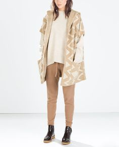 Image 1 of JACQUARD HOODED THREE QUARTER LENGTH COAT from Zara $100
