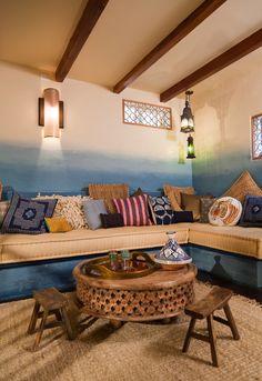 Parede degradê (Ombre Wall) architecture home design dream house patio Moroccan style adobe whitewash cement