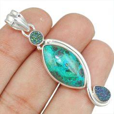 Shattuckite & Druzy 925 Sterling Silver Pendant Allison Co Jewelry Sp-2158 #Allisonsilverco