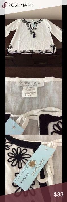 Debbie Katz white and black embroidered top Debbie Katz white and black embroidered Serena top debbie katz Tops Tunics
