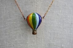Hot Air Balloon Necklace Painted Ceramic Pendant by FreshyFig, $25.00