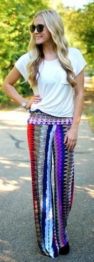 2e35637860d Colorful palazzo pant and t-shirt combo Fashion Essentials