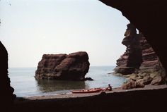 Sea Kayaking. Secret cove - only accessible from the sea. Parson and the Clerk. South Devon coast. Happy days. © Nigel Albright