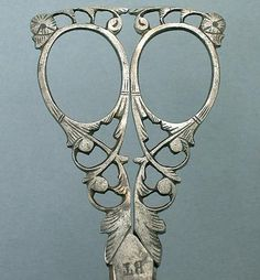 Antique Italian Steel Filigree Scissors by Bartolomeo Terzano; Circa 1890