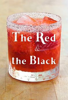 Recipe for The Red & the Black cocktail.  A mouthwatering Margarita variation with strawberries and black pepper, with a pepper spiced rim.