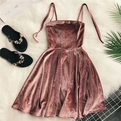 2019 Autumn Women Kawaii Solid Dress Velvet Spaghetti Strap Christmas Halloween Party Dress Empire A-Line Vestidos Cute Clothing - Ladies Style Cute and chic teens fashion outfits ideas Hoco Dresses, Homecoming Dresses, Prom, Summer Dresses, Formal Dresses, Sparkly Dresses, Wedding Dresses, Dresses Dresses, Tight Dresses
