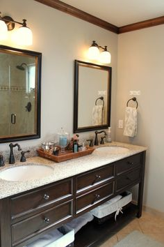 Only some of these ideas I would really tackle as DIY, but I like the open bottom shelf under the vanity.