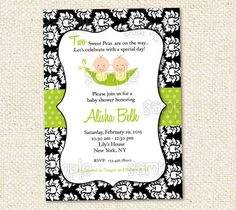 Two Peas in a Pod Baby Shower Invitation by LollipopPrints on Etsy, $10.00
