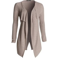 NIC+ZOE Texture Block Cardigan ($97) ❤ liked on Polyvore featuring tops, cardigans, jackets, sweaters, outerwear, satin taupe, long tops, drapey cardigan, drape cardigan and block tops