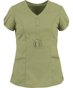 Shop Grey's Anatomy 41228 buckle front scrub top with mock placket and front pockets for less. We offer best selling Grey's Anatomy scrubs at Uniform Advantage. Scrubs Outfit, Scrubs Uniform, Medical Uniforms, Work Uniforms, Greys Anatomy Scrubs, Lab Coats, Uniform Design, Medical Scrubs, Nursing Dress