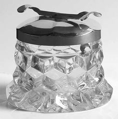Fostoria American-Clear Sugar Cuber and Tongs In Lid - $299