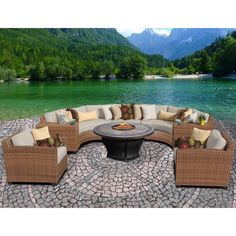 Wrap-around furniture and a cozy fire pit table make the TK Classics Laguna 8 Piece Curved Wicker Patio Conversation Set with Tempe Firepit Table a. Outdoor Wicker Patio Furniture, Fire Pit Furniture, Patio Furniture Sets, Outdoor Dining, Dining Area, Wicker Sofa, Wicker Furniture, Patio Dining, Cheap Furniture