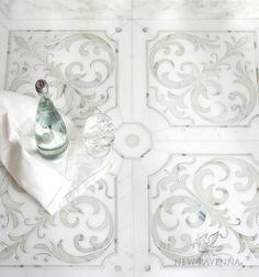 Jardin de Giverny, a waterjet stone mosaic, shown in polished Calacatta Gold and polished Thassos, is part of the Jardins Français™ collection by Caroline Beaupere for New Ravenna. Marble Mosaic, Stone Mosaic, Stone Tiles, Mosaic Tiles, Tiling, Wall Tiles, New Ravenna, Calacatta Gold, Small Bathroom