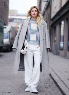 wool coat with checkered sweater and slouchy pants 2017