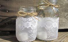 Mason Jar Lace Candle Holder - Vase - Wedding Centerpiece - Decor (set of 2)