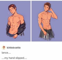 I like how fandom lance and Keith are muscled af But canon keith and lance are just flat