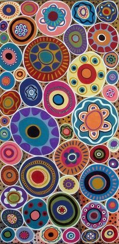 Original abstract folk art acrylic and oil painting on stretched canvas by Karla Gerard Karla Gerard, Arte Fashion, Circle Art, Arte Popular, Textures Patterns, Floral Patterns, Art Plastique, Oeuvre D'art, Aboriginal Art