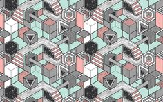 Today I'm loving the visual language expressed in this project by MadeService . Simple colour pallette, with some nice graphic, geometric p. Isometric Shapes, Isometric Grid, Polygon Art, Technical Drawing, Portfolio, Tool Design, Graphic Design Inspiration, Pixel Art, Branding