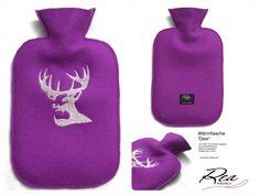 Wärmflasche 'Deer' -- Filz 100% Schurwolle magenta - GummiWärmflasche - Stickerei Silbergarn - Grösse 26 x 16 cm