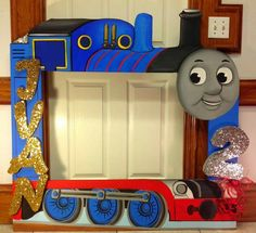 Thomas the Train photo frame prop for pictures with guests