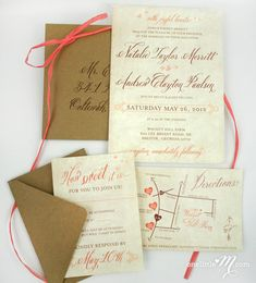 Rustic Sweet Coral Wedding Invitation Suite SAMPLE by oneLittleM, $6.00