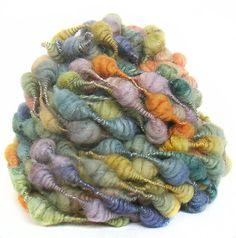 Handspun Art Yarn handdyed Merino wool silk coils by FeltStudioUK, $21.00