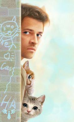 Castiel Fan Art - time to interrogate the cats!