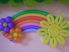 Rainbow and sunshine Balloon Decorations Party, Birthday Party Decorations, Balloon Display, Trolls Birthday Party, Birthday Parties, Ballon Arrangement, Baloon Art, Balloon Crafts, Rainbow Balloons
