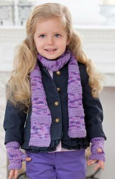 Berry-licious Scarf & Wristers Free Knitting Pattern from Red Heart Yarns