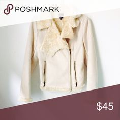 Express suede jacket Express suede jacket with faux fur trim. Beige. Express Jackets & Coats