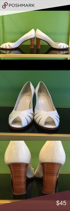 """STUART WEITZMAN WHITE PEEP TOE PUMPS It doesn't get much better than this!  Fabulous summer shoes that will be relevant for many years.  Soles show some wear but heels & body of shoes are like new.  Great quality at a great price!  3"""" heel. Stuart Weitzman Shoes Heels"""