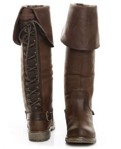 Dirty Laundry Rumplestilz Brown Lace Up the Back Flat Boots - $99.00 ($50-100) - Svpply