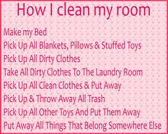 """a good checklist for the kiddos when they come to me and say """"i don't know how to clean my room""""... especially for Jonah and Maddox"""