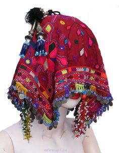 orient  Nomaden Hochzeit Kopfschmuck banjara embroidered headdress Pakistan -C