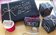 chalkboard style gift wrap All you need is black kraft paper and a chalk marker. ( now where to find black kraft paper. Wrapping Ideas, Gift Wrapping, Map Wrapping Paper, Stone Wrapping, Holiday Crafts, Holiday Fun, Christmas Gifts, Christmas Wrapping, Christmas Open House
