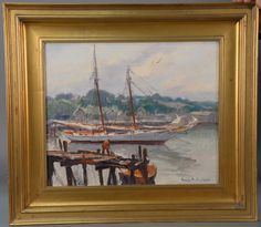 "EMILE ALBERT GRUPPE (1896-1978)  Ship in Harbour  Harvey Gamage out of Bristol  oil on canvas  signed lower right Emile A. Gruppe  titled and writing on reverse  20"" x 24"""
