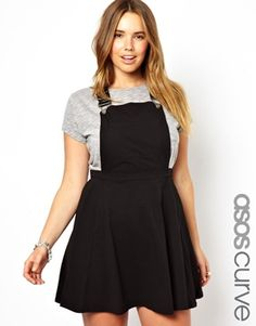 ASOS CURVE Pinafore Dress i so totally need this dress -- but they don't have the black and i'm not big on khaki..c'mon Asos make more!