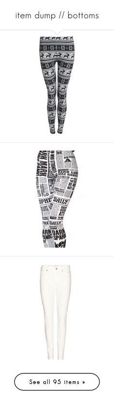"""item dump // bottoms"" by definitive-gen ❤ liked on Polyvore featuring definitivegen, pants, leggings, bottoms, christmas, black, stretch waist pants, christmas leggings, knit leggings and snowflake leggings"