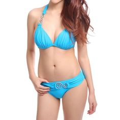 $12.81 Sexy Halter Spliced Women's Bikini Set