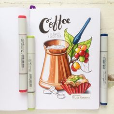 New Diy Art Journal Envelopes 68 Ideas Copic Marker Drawings, Sketch Markers, Copic Markers, Art Drawings Sketches, Easy Drawings, Starbucks Art, Copic Art, Food Drawing, Drawing Ideas