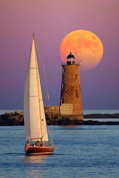 Moonrise over Whaleback Lighthouse off the coast of Maine