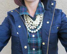 Pearls, plaid, field jacket #jcrew