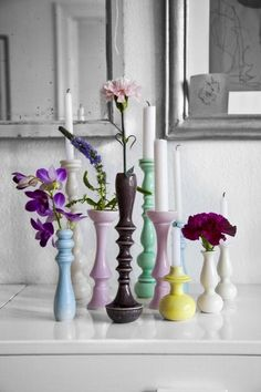 Flowers and candles, various colors & shapes