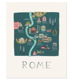 Rifle Paper Co. Rifle Paper Rome Illustrated Print 18 X 24 Rome Travel, Travel Maps, Italy Travel, Travel Posters, Travel Europe, Travel Trip, Rome Map, Voyage Rome, City Poster
