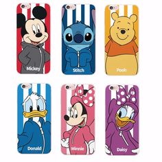 Free Shipping!    Disney Minnie Mickey Cartoon Donald Duck Stitch Daisy Phone case For iPhone 6 6Plus 6S 5 5S 4S 7 7plus SAMSUNG